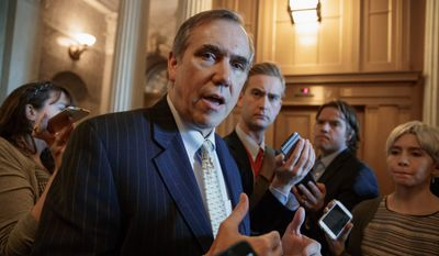 "Sen. Jeff Merkley, Oregon Democrat, called the ""nuclear option"" a victory for democracy four years ago. Now, with his party in the minority, he is fighting to save the Senate power of the filibuster. (Associated Press)"