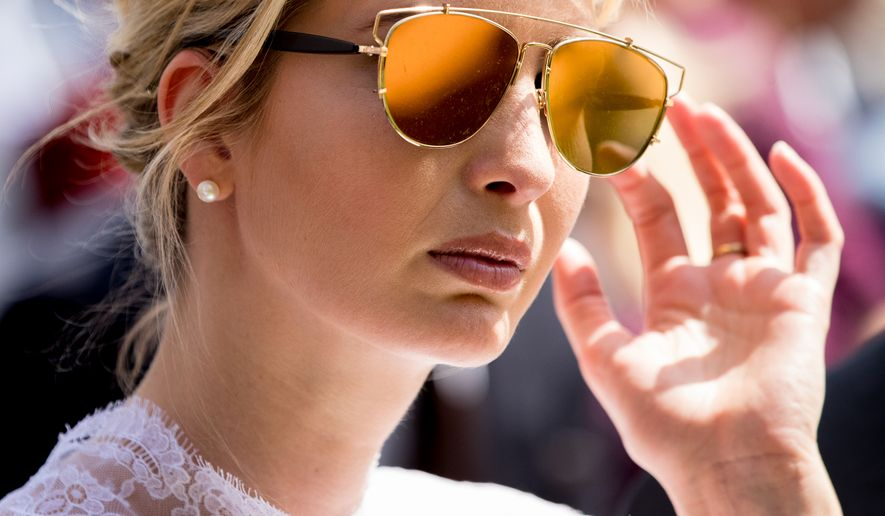 Ivanka Trump, the daughter of President Donald Trump, attends a news conference with President Donald Trump and Jordan's King Abdullah II in the Rose Garden at the White House, Wednesday, April 5, 2017, in Washington. (AP Photo/Andrew Harnik)