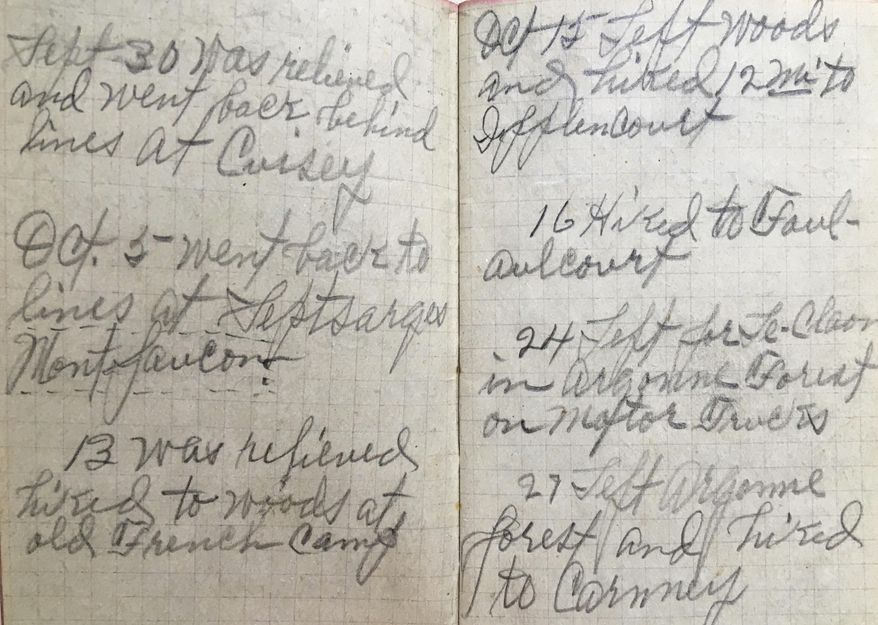 In this photo taken on March 26, 2017 and provided by the family of Mary Thompson, entries are made in the World War I diary of Army Private Guy Ford of the American Expeditionary Force. Guy Ford, from a small town in West Virginia was drafted into the Army and sent to France to fight in the Meuse-Argonne during World War I. (Bob Thompson via AP)