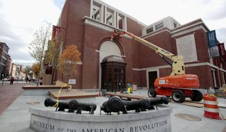 FILE - In this Monday, Oct. 24, 2016 file photo, construction continues on the exterior at the Museum of the American Revolution in Philadelphia. Philadelphia's Museum of the American Revolution says it has exceeded its $150 million fundraising effort, just weeks before it opens to the public on April 19, 2017. (AP Photo/Jacqueline Larma, File)