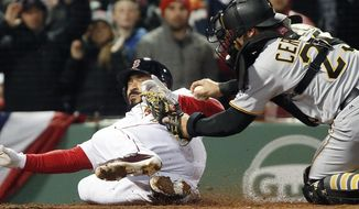 Boston Red Sox's Sandy Leon, left, is tagged out at home plate by Pittsburgh Pirates' Francisco Cervelli (29) on a single by Dustin Pedroia during the third inning of a baseball game in Boston, Wednesday, April 5, 2017. (AP Photo/Michael Dwyer)