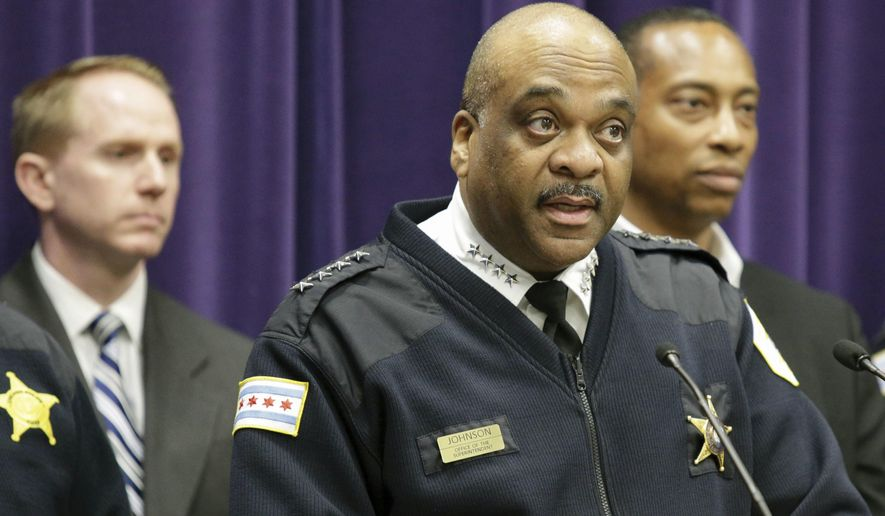 Chicago Police Department Superintendent Eddie Johnson speaks during a news conference Wednesday, April 5, 2017, in Chicago. (AP Photo/Teresa Crawford) ** FILE **