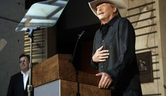 Singer and songwriter Alan Jackson speaks after it was announced Wednesday, April 5, 2017, in Nashville, Tenn., that he is one of the 2017 inductees into the Country Music Hall of Fame along with songwriter Don Schlitz and the late singer and songwriter Jerry Reed. (AP Photo/Mark Humphrey)