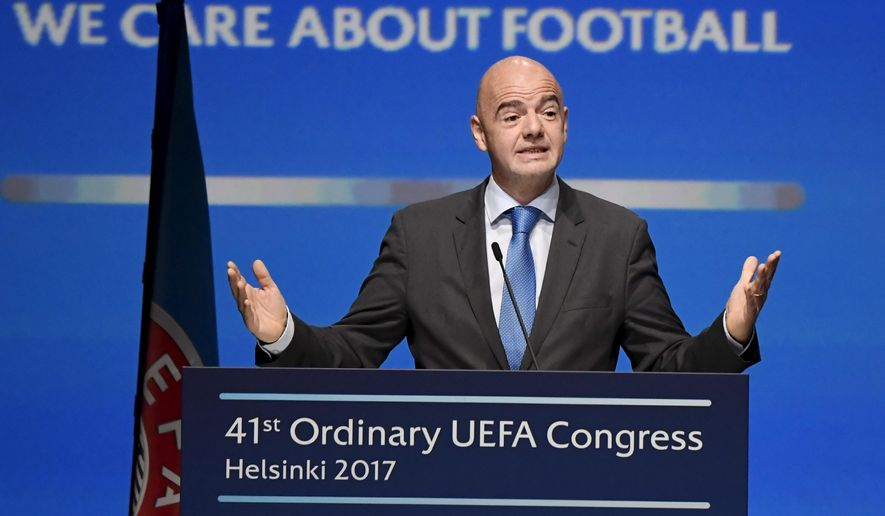 FIFA president Gianni Infantino speaks  during The 41st Ordinary UEFA Congress on Wednesday April  5, 2017  in Helsinki, Finland on Wednesday April  5, 2017. (Markku Ulander/Lehtikuva via AP)