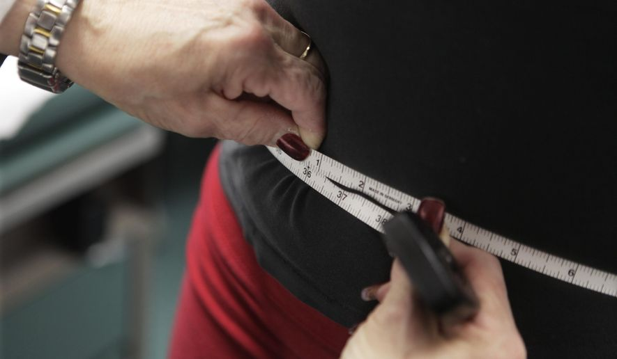 In this Jan. 20, 2010, file photo, a waist is measured during an obesity prevention study in Chicago. (AP Photo/M. Spencer Green, File)