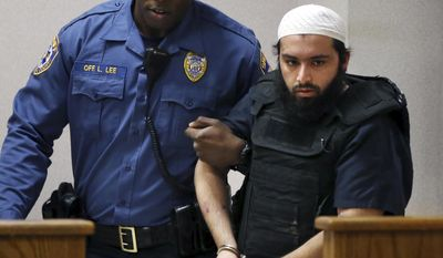 FILE - In this Dec. 20, 2016, file photo, Ahmad Khan Rahimi, the man accused of setting off bombs in New Jersey and New York in September, injuring more than 30 people, is led into court in Elizabeth, N.J. Rahimi has asked a judge to move his trial to Vermont. Lawyers for Afghanistan-born U.S. citizen Rahimi said in papers filed late Wednesday, April 5, 2017, that he would get a fairer trial in Burlington, Vt. (AP Photo/Mel Evans, File)