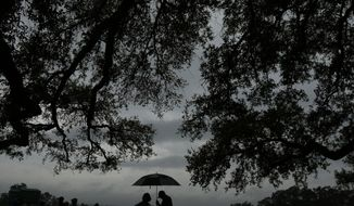 Fans stand under a tree during the par three competition at the Masters golf tournament Wednesday, April 5, 2017, in Augusta, Ga. (AP Photo/Charlie Riedel)