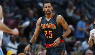FILE - This Dec. 23, 2016 file photo shows Atlanta Hawks forward Thabo Sefolosha (25), of Switzerland, in the second half of an NBA basketball game in Denver. Sefolosha has settled his lawsuit against New York City that stemmed from a police fracas outside a trendy Manhattan nightclub. The Daily News reports Wednesday, April5, 2017 that Sefolosha will get $4 million. (AP Photo/David Zalubowski, file)