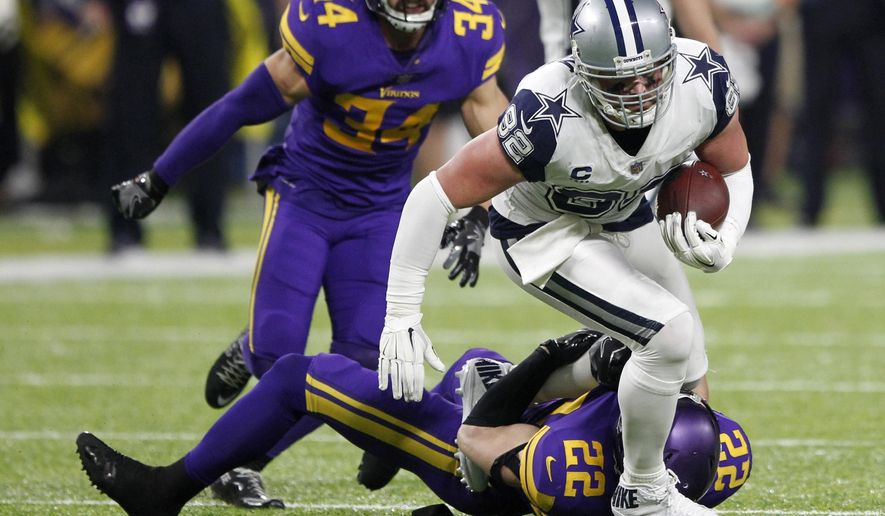 FILE - In this Thursday, Dec. 1, 2016, file photo, Dallas Cowboys tight end Jason Witten (82) is tackled by Minnesota Vikings free safety Harrison Smith (22) after making a reception during the second half of an NFL football game, in Minneapolis. The game was one of the NFL games that was streamed live on Twitter during the season. Amazon will stream 10 NFL games during the 2017 season in a deal with the league, replacing Twitter. Games will be available to members of its Prime loyalty program. As more people turn to streaming services for entertainment, demand for live sports streaming has been growing. (AP Photo/Andy Clayton-King, File)