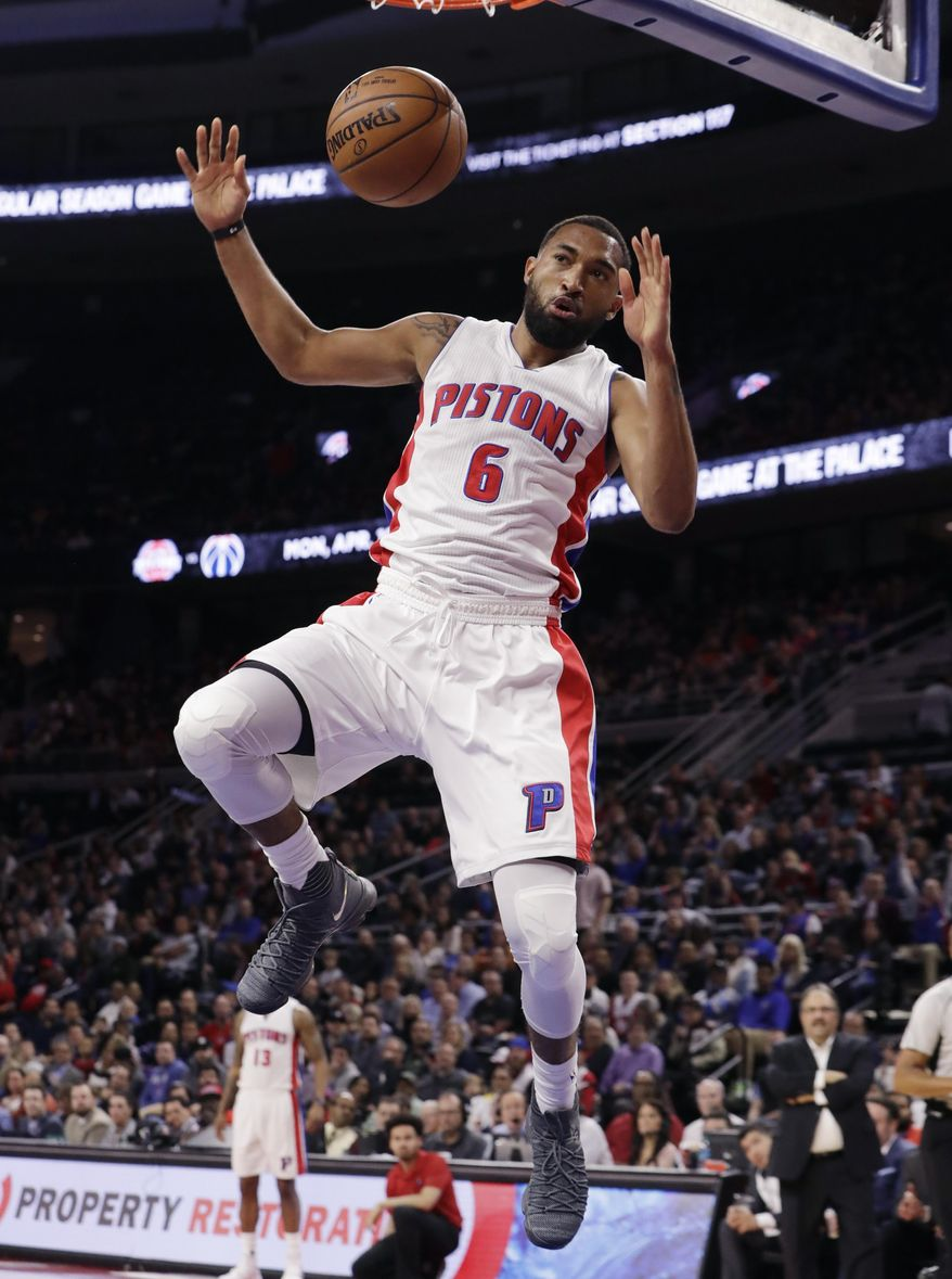 Detroit Pistons guard Darrun Hilliard dunks during the first half of an NBA basketball game against the Toronto Raptors, Wednesday, April 5, 2017, in Auburn Hills, Mich. (AP Photo/Carlos Osorio)