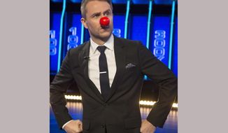 """In this March 31, 2017 photo released by NBC, Chris Hardwick wears a red nose for NBC's third annual """"The Red Nose Day Special,"""" which will air on May 25, from 10-11 p.m. EDT. Hardwick, host of Comedy Central's """"@midnight"""" will host. (Paul Drinkwater/NBC via AP)"""