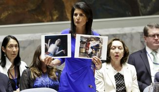 Nikki Haley, the U.S. ambassador to the United Nations, gave a forceful condemnation of the latest chemical weapons attack on Syrian civilians. Meanwhile, the Trump administration was confronting another foreign policy crisis over North Korean missiles. (Associated Press)