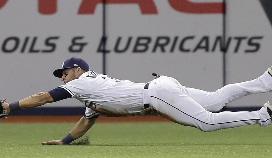 Tampa Bay Rays center fielder Kevin Kiermaier dives but can't hang onto a double by New York Yankees' Chase Headley during the fifth inning of a baseball game, Wednesday, April 5, 2017, in St. Petersburg, Fla. (AP Photo/Chris O'Meara)
