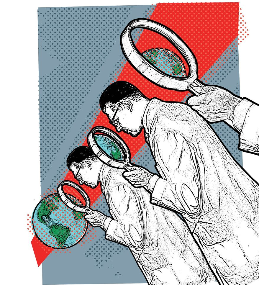 Illustration on examining the science examining climate change by Linas Garsys/The Washington Times