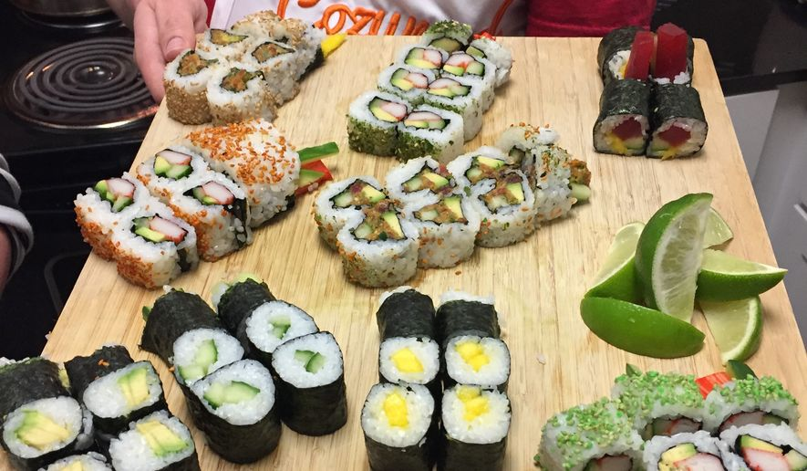 The end result of the Cozymeal Sushi Class with Chef Chericia.  (Eric Althoff/The Washington Times)