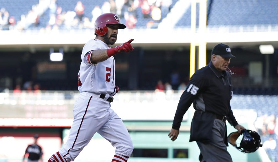 Washington Nationals' Adam Eaton rounds the bases after hitting a home run during the first inning of the team's baseball game against the Miami Marlins in Washington, Thursday, April 6, 2017. (AP Photo/Manuel Balce Ceneta)