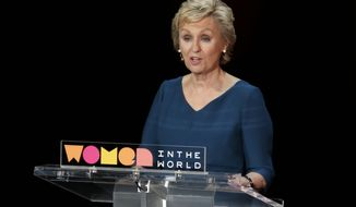 Tina Brown, founder of the Women in the World Summit, speaks during the event at Lincoln Center in New York, Thursday, April 6, 2017. (AP Photo/Richard Drew)