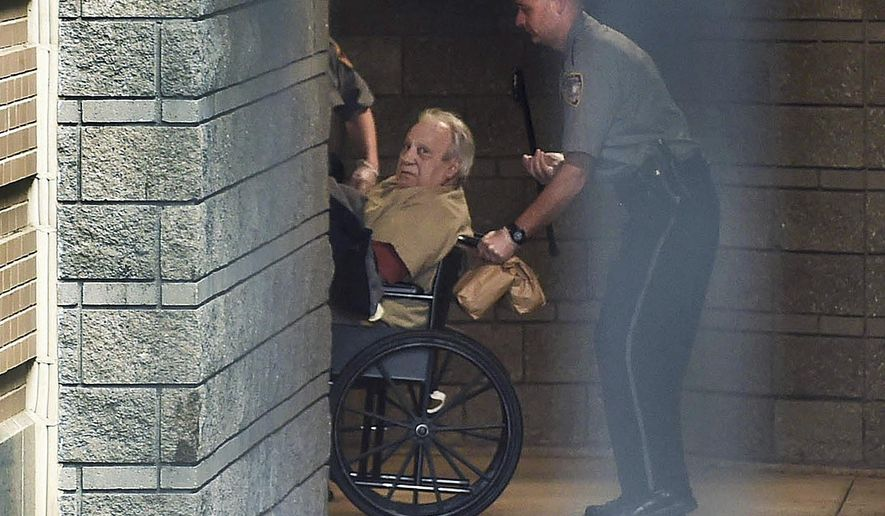FILE - In this April 20, 2015 file photo, Robert Gentile is brought into the federal courthouse in a wheelchair for a hearing in Hartford, Conn. Gentile, who authorities say is the last surviving person of interest in the 1990 art heist from the Isabella Stewart Gardner Museum in Boston, is scheduled to plead guilty to unrelated weapons charges, Thursday, April 6, 2017, in federal court in Hartford. (Cloe Poisson/Hartford Courant via AP, File)