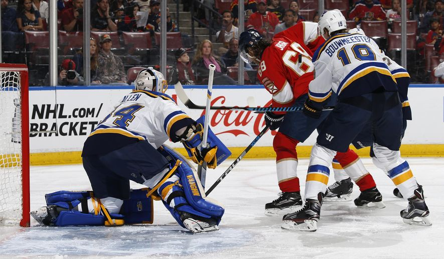 St. Louis Blues goaltender Jake Allen (34) stops a shot by Florida Panthers right wing Jaromir Jagr (68) during the first period of an NHL hockey game, Thursday, April 6, 2017, in Sunrise, Fla. (AP Photo/Joel Auerbach)