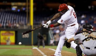 FILE In this Tuesday, Sept. 13, 2016, file photo, Philadelphia Phillies' Ryan Howard drives in a run off Pittsburgh Pirates starting pitcher Ivan Nova during the fourth inning of a baseball game in Philadelphia. Free agent slugger Howard has reached a minor league deal with the Atlanta Braves, hoping for another chance to play in the majors. The 37-year-old Howard wasn't signed by the Phillies after last season. The Braves made the deal Thursday, April 6, 2017. (AP Photo/Matt Slocum, File)