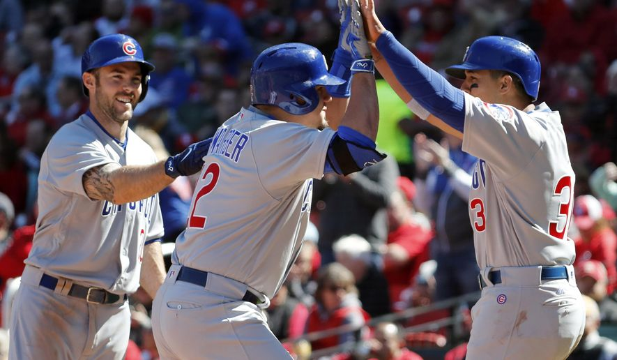 Chicago Cubs' Kyle Schwarber, center, is congratulated by teammates Matt Szczur, left, and Jon Jay after hitting a three-run home run during the seventh inning of a baseball game against the St. Louis Cardinals on Thursday, April 6, 2017, in St. Louis. (AP Photo/Jeff Roberson)