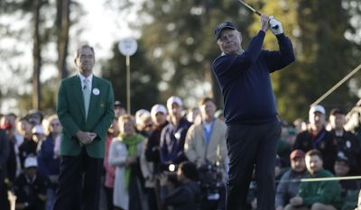 Jack Nicklaus hits an honorary first tee shot for the ceremonial start of the first round of the Masters golf tournament Thursday, April 6, 2017, in Augusta, Ga. (AP Photo/Chris Carlson)