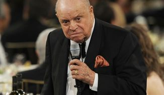 FILE - In this June 7, 2012 file photo, comedian Don Rickles attends the AFI Life Achievement Award Honoring Shirley MacLaine at Sony Studios in Culver City, Calif. Rickles died, Thursday, April 6, 2017, of kidney failure at his Los Angeles home. He was 90. (Photo by Chris Pizzello/Invision/AP, File)