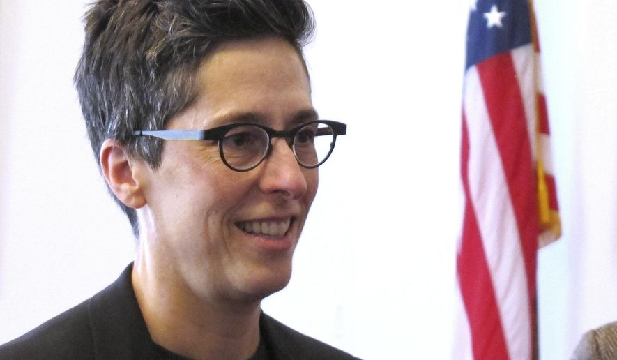 "Alison Bechdel visits the Statehouse in Montpelier, Vt., where she was appointed Cartoonist Laureate of Vermont, Thursday April 6, 2017. Bechdel also was awarded a MacArthur Genius Grant in 2014, which honors people who show ""exceptional creativity"" in their work and the likelihood of more. (AP Photo/Wilson Ring)"