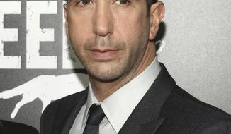 "FILE - In this May 23, 2016 file photo, David Schwimmer attends the premiere screening of AMC's new series, ""Feed The Beast"", in New York. Schwimmer, Cynthia Nixon, Bobby Cannavale, Grace Gummer and Noah Emmerich, among others, appear in a series of short films launched this week as part of a campaign called That's Harassment. Each offers a disturbing glimpse into how abusers assume control, whether they're fellow bartenders, co-workers or bosses, and how such abuse can play out in plain view of bystanders. (Photo by Andy Kropa/Invision/AP, File)"
