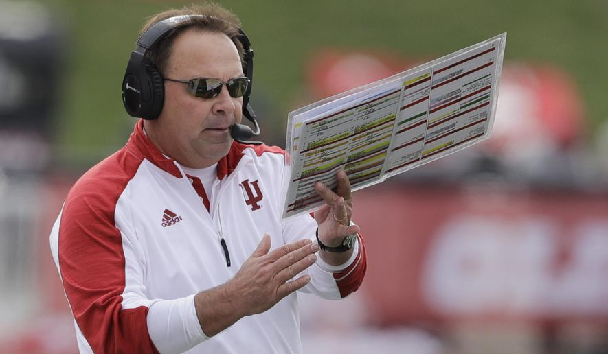 FILE - In this Nov. 26, 2016, file photo, Indiana coach Kevin Wilson calls a timeout during the first half of the team's NCAA college football game against Purdue in Bloomington, Ind. Former Indiana coach Wilson steps in as co-offensive coordinator at Ohio State by title. Make no mistake, though, Wilson was brought in by Urban Meyer to fix the offense. (AP Photo/Darron Cummings, File)