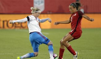 Russia midfielder Elena Terekhova, left, and U.S. midfielder Mallory Pugh compete for control of the ball during the first half of an international friendly soccer match in Frisco, Texas, Thursday, April 6, 2017. (AP Photo/Tony Gutierrez)
