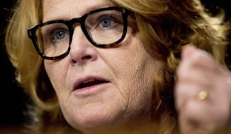 Sen. Heidi Heitkamp, North Dakota Democrat, speaks on Capitol Hill in Washington on Feb. 14, 2017. (Associated Press) **FILE**