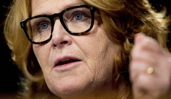 Sen. Heidi Heitkamp, North Dakota Democrat, speaks on Capitol Hill in Washington on Feb. 14, 2017. (Associated Press) **FILE**