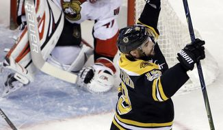 Boston Bruins right wing Drew Stafford (19) celebrates his goal against Ottawa Senators goalie Craig Anderson (41) during the first period of an NHL hockey game, Thursday, April 6, 2017, in Boston. (AP Photo/Elise Amendola)
