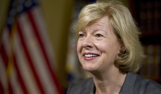 "FILE - In this June 21, 2016, file photo, Sen. Tammy Baldwin, D-Wis., speaks during an interview with The Associated Press at her office on Capitol Hill in Washington. Baldwin's support for the ""nuclear option"" to block President Donald Trump's pick for the U.S. Supreme Court has become an early battleground in advance of her re-election bid in 2018. (AP Photo/Alex Brandon, File)"