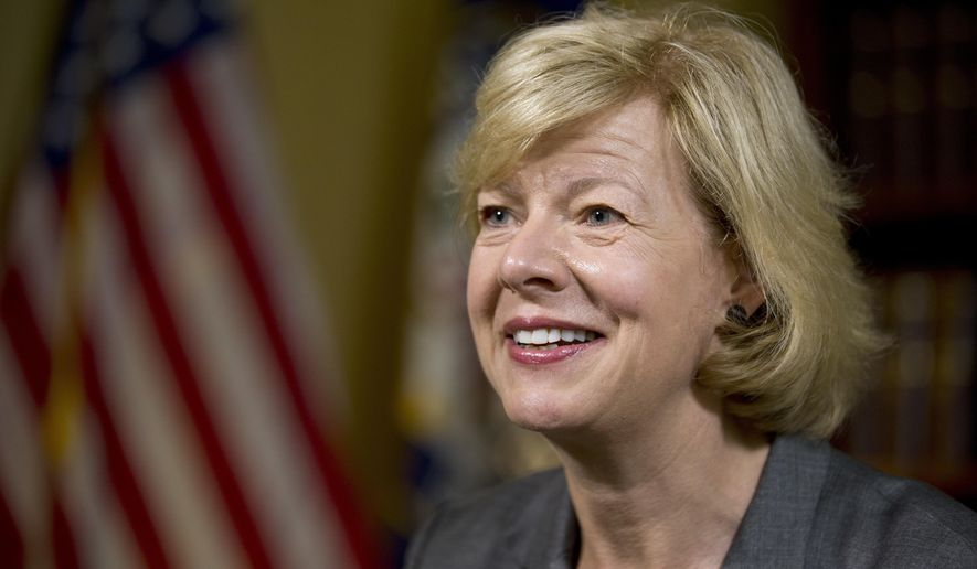 """FILE - In this June 21, 2016, file photo, Sen. Tammy Baldwin, D-Wis., speaks during an interview with The Associated Press at her office on Capitol Hill in Washington. Baldwin's support for the """"nuclear option"""" to block President Donald Trump's pick for the U.S. Supreme Court has become an early battleground in advance of her re-election bid in 2018. (AP Photo/Alex Brandon, File)"""