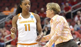 FILE - In this March 18, 2017, file photo, Tennessee head coach Holly Warlick talks to Diamond DeShields (11) during a first-round game against Dayton in the women's NCAA college basketball tournament in Louisville, Ky. Now that DeShields and Mercedes Russell have decided to return for their senior years, Tennessee should head into the 2017-18 season with arguably its most talented roster since Warlick took over the program in 2012. (AP Photo/Timothy D. Easley, File)