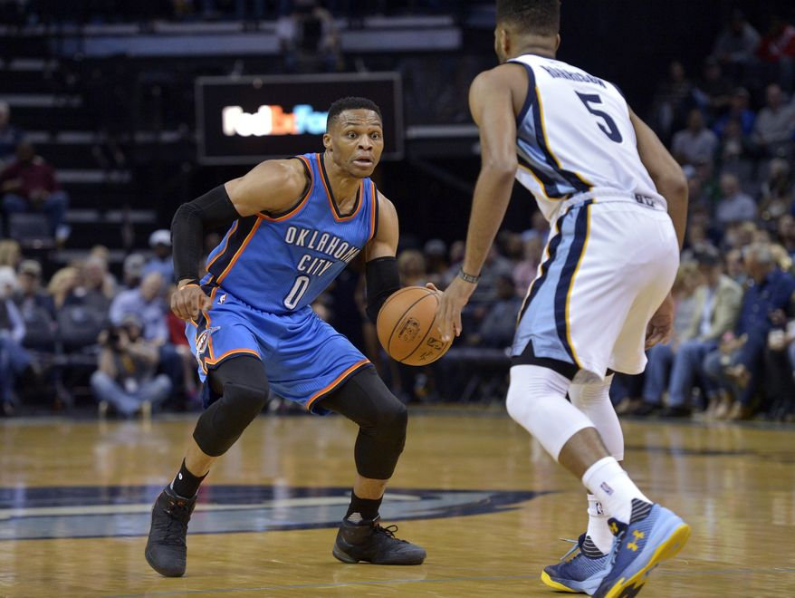 Oklahoma City Thunder guard Russell Westbrook (0) controls the ball against Memphis Grizzlies guard Andrew Harrison (5) during the first half of an NBA basketball game Wednesday, April 5, 2017, in Memphis, Tenn. (AP Photo/Brandon Dill)