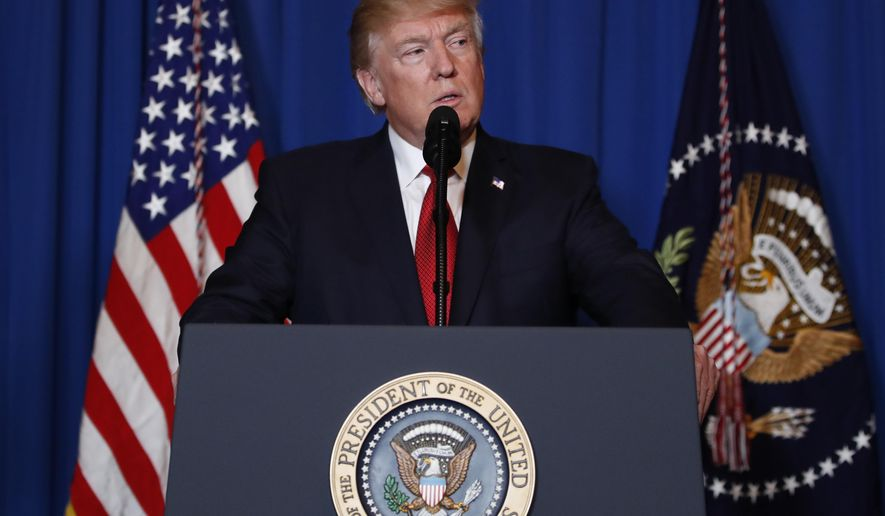 President Donald Trump speaks at Mar-a-Lago in Palm Beach, Fla., Thursday, April 6, 2017, after the U.S. fired a barrage of cruise missiles into Syria Thursday night in retaliation for this week's gruesome chemical weapons attack against civilians. (AP Photo/Alex Brandon)