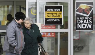 In this Tuesday, Nov. 25, 2014, file photo, a man and a woman leave an hhgregg store in Mayfield Heights, Ohio. Consumer electronics chain hhgregg Inc. is going out of business. The Indianapolis company says it will liquidate its assets after filing for bankruptcy protection in March 2017 and failing to find a buyer for the business. (AP Photo/Tony Dejak, File)