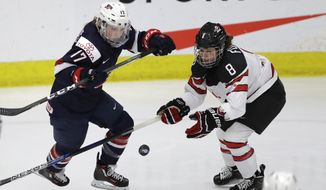 U.S. forward Jocelyne Lamoureux-Davidson (17) and Canada defender Laura Fortino (8) chase the puck during the second period of the gold-medal game of the women's world hockey championships, Friday, April 7, 2017, in Plymouth, Mich. (AP Photo/Carlos Osorio)