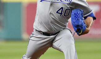 Kansas City Royals relief pitcher Kelvin Herrera delivers in the ninth inning of the team's baseball game against the Houston Astros, Friday, April 7, 2017, in Houston. Kansas City won 5-1. (AP Photo/Eric Christian Smith)