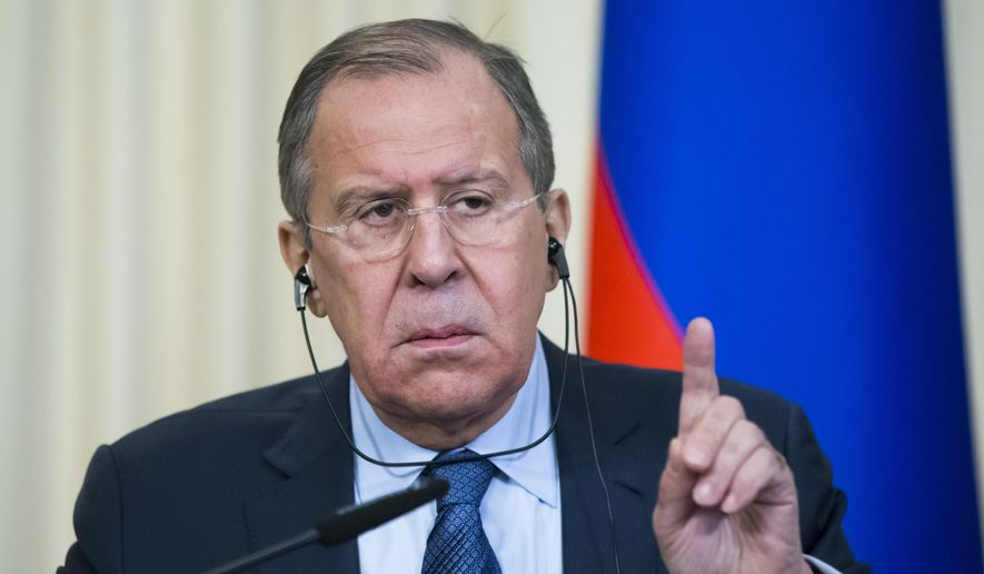 In this photo taken on Monday, March 27, 2017, Russian Foreign Minister Sergey Lavrov gestures while speaking during a news conference with Italian Foreign Minister Angelino Alfano following their talks in Moscow, Russia. Lavrov said that no Russian servicemen were hurt in the U.S. strike on a Syrian air base Friday, April 7, 2017. (AP Photo/Alexander Zemlianichenko, File)