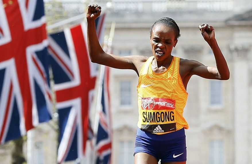 FILE - In this Sunday, April 24, 2016 file photo, Jemima Sumgong of Kenya wins the women's race in the 2016 London Marathon in London. Olympic marathon champion Jemima Sumgong tested positive for the blood booster EPO in a surprise test in Kenya, the IAAF said Friday, April 7, 2017, another damaging blow to the credibility of the East African country's famed distance-running program. (AP Photo/Kirsty Wigglesworth, File)