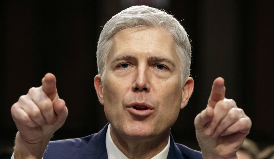FILE - In this March 22, 2017, file photo, Supreme Court nominee Judge Neil Gorsuch speaks during his confirmation hearing, on Capitol Hill in Washington. Gorsuch's confirmation as the 113th Supreme Court justice is expected on April 7. It won't be long before he starts revealing what he really thinks about a range of hot topics he repeatedly sidestepped during his confirmation hearing.(AP Photo/J. Scott Applewhite, File)