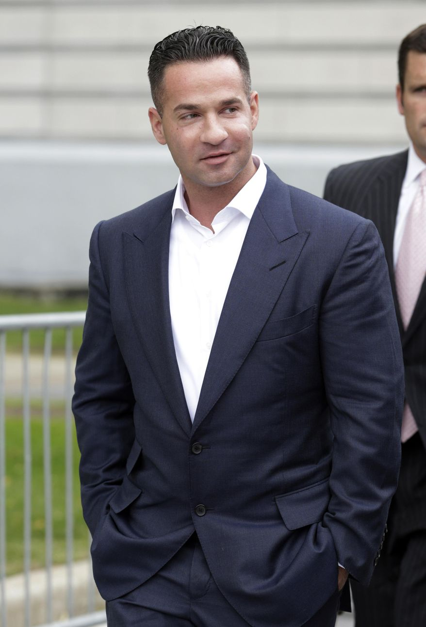 """FILE- In this Sept. 24, 2014 file photo, Mike """"The Situation"""" Sorrentino leaves the MLK Jr. Federal Courthouse in Newark, N.J., after a court appearance. After previously pleading not guilty to charges that they filed bogus tax returns on nearly $9 million and claimed millions in personal expenses as business expenses, """"Jersey Shore"""" reality TV show star Michael """"The Situation"""" Sorrentino and his brother have had additional tax fraud charges filed against them on Friday, April 7, 2017. (AP Photo/Julio Cortez, File)"""