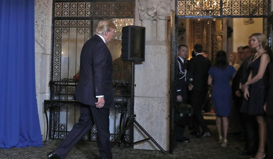 President Donald Trump walks from the podium after speaking at Mar-a-Lago in Palm Beach, Fla., Thursday, April 6, 2017, after the U.S. fired a barrage of cruise missiles into Syria Thursday night in retaliation for this week's gruesome chemical weapons attack against civilians. At right is his daughter Ivanka Trump. (AP Photo/Alex Brandon)