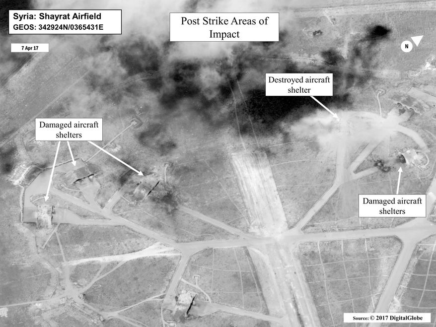 This satellite image released by the U.S. Department of Defense shows a damage assessment image of Shayrat air base in Syria, following U.S. Tomahawk Land Attack Missile strikes on Friday, April 7, 2017 from the USS Ross (DDG 71) and USS Porter (DDG 78), Arleigh Burke-class guided-missile destroyers. The United States blasted the air base with a barrage of cruise missiles on Friday, April 7, 2017 in fiery retaliation for this week's gruesome chemical weapons attack against civilians. (DigitalGlobe/U.S. Department of Defense via AP)