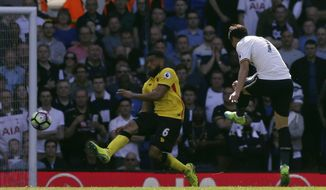 Tottenham's Son Heung-Min,right, scores a goal during the English Premier League soccer match between Tottenham Hotspur and Watford at White Hart Lane in London, Saturday April 8, 2017. (AP Photo/Tim Ireland)