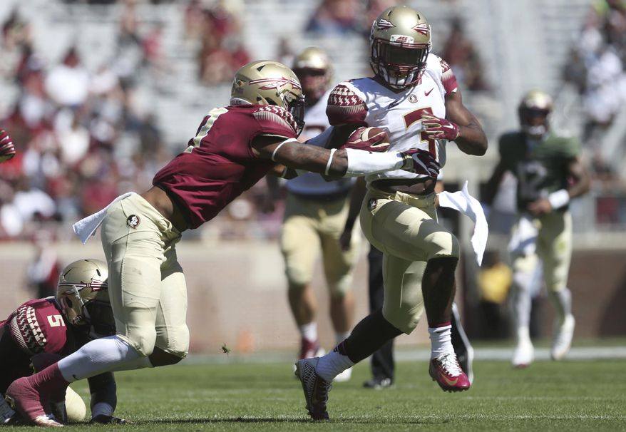 Florida State's Cam Akers tries to break away from Stanford Samuels III during the NCAA college football team's Garnet and Gold spring game in Tallahassee, Fla., Saturday, April 8, 2017. (Joe Rondone/Tallahassee Democrat via AP)